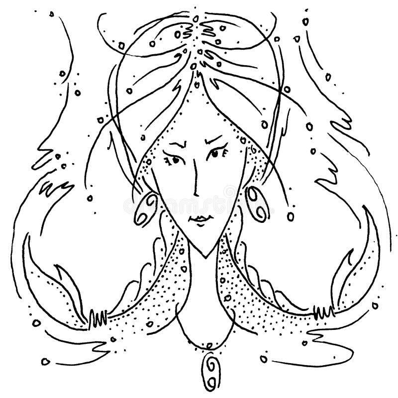 Fille de dessin noire et blanche de Cancer de signe de zodiaque avec des tresses sous forme de cancer de griffes illustration de vecteur