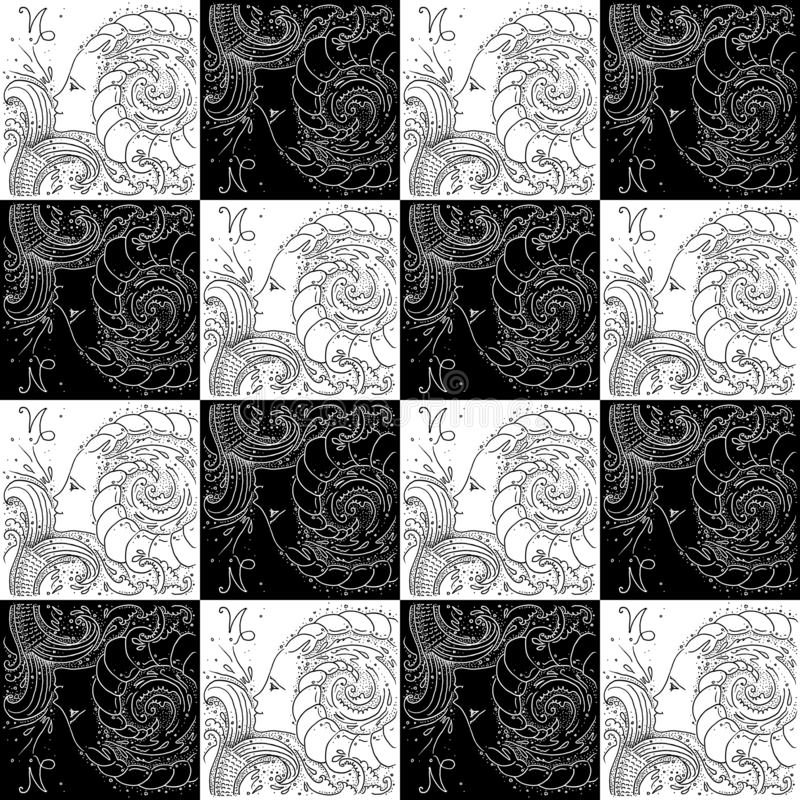 Fille de dessin noire et blanche de texture de zodiaque de Capricorne sans couture de signe avec une queue de poissons et des kla illustration de vecteur