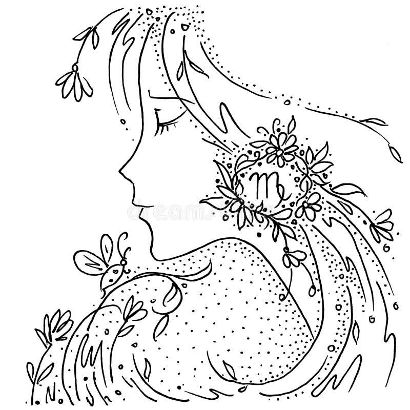Fille de dessin noire et blanche de Vierge de signe de zodiaque avec des fleurs et des plantes dans ses cheveux illustration stock