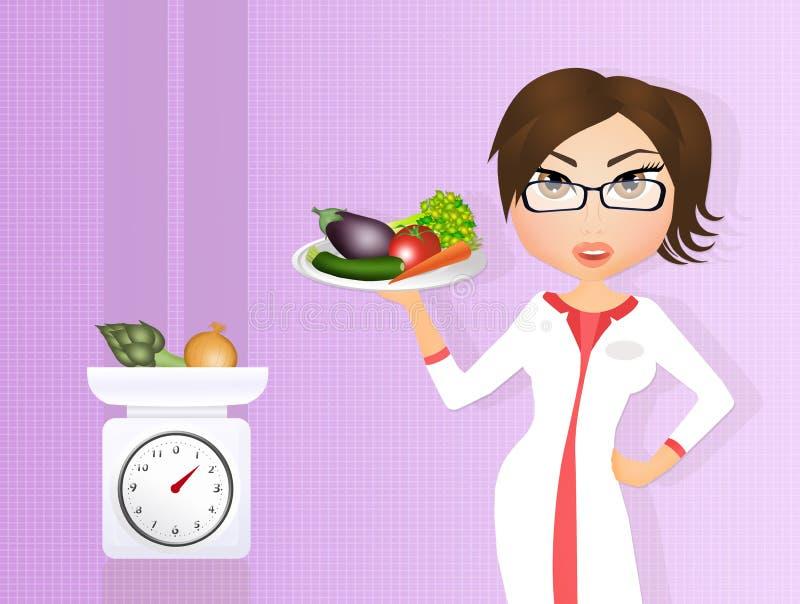Fille de diététicien avec des légumes illustration libre de droits