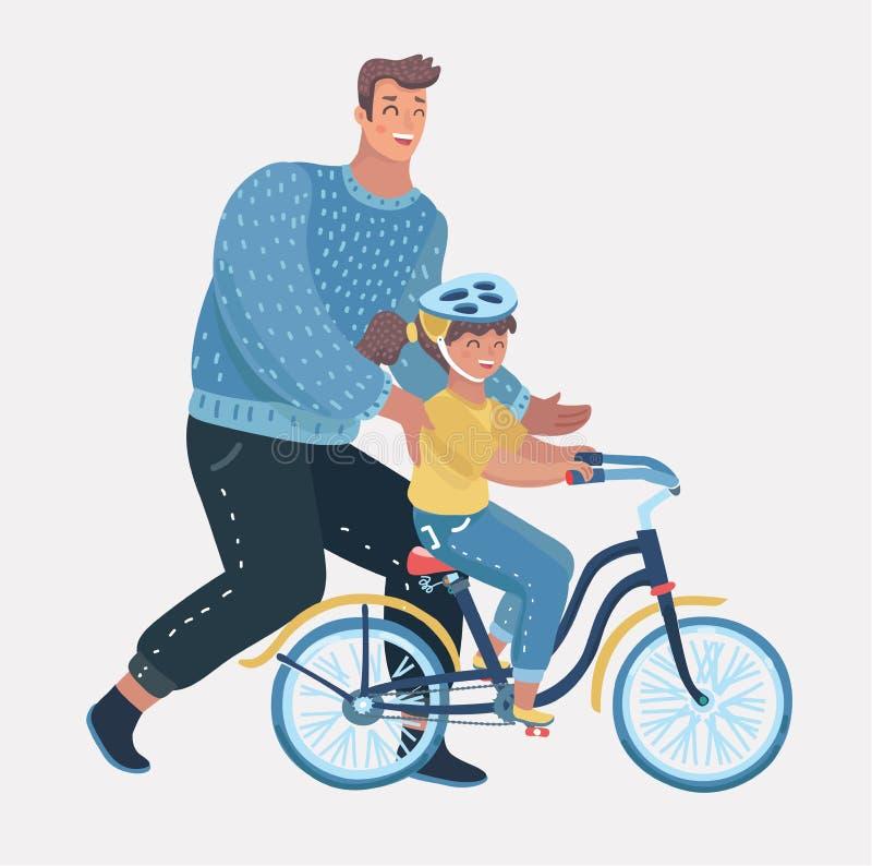Fille de enseignement de soin de papa pour monter le vélo illustration libre de droits