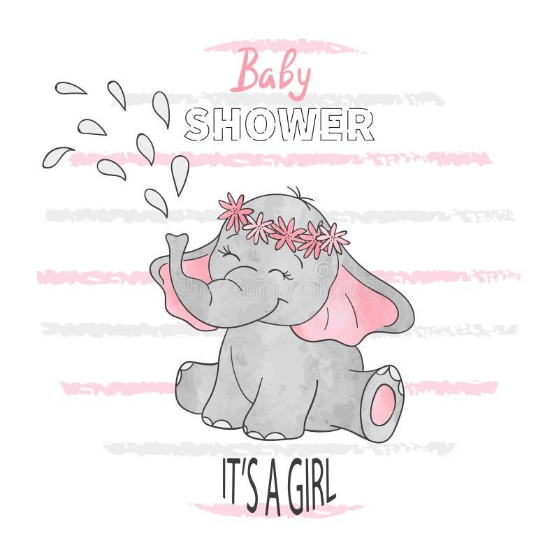 Fille de fête de naissance Illustration de vecteur avec l'éléphant mignon de bébé illustration libre de droits