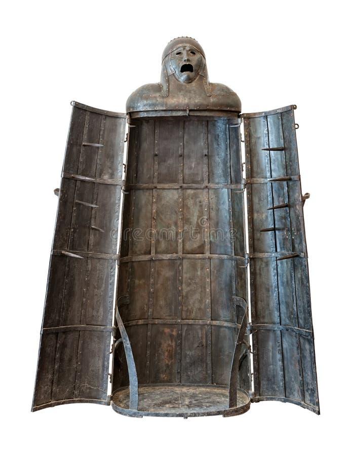 Fille de fer, découpage médiéval de dispositif de torture photographie stock