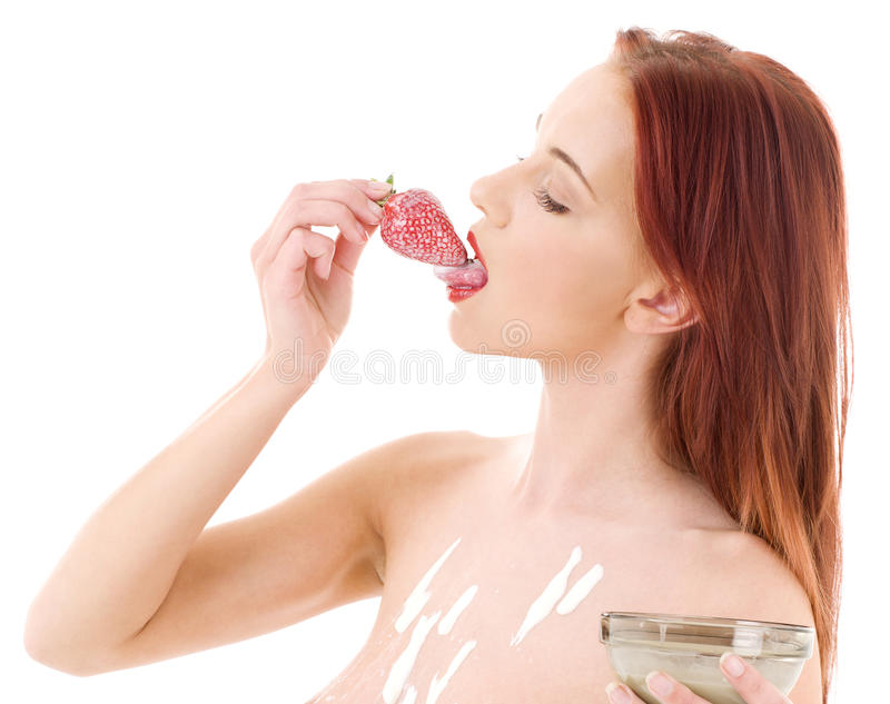 Fille de fraise image libre de droits