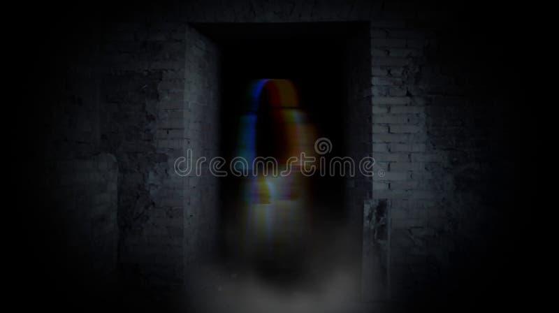 Fille de Ghost en porte Un fantôme terrible illustration de vecteur