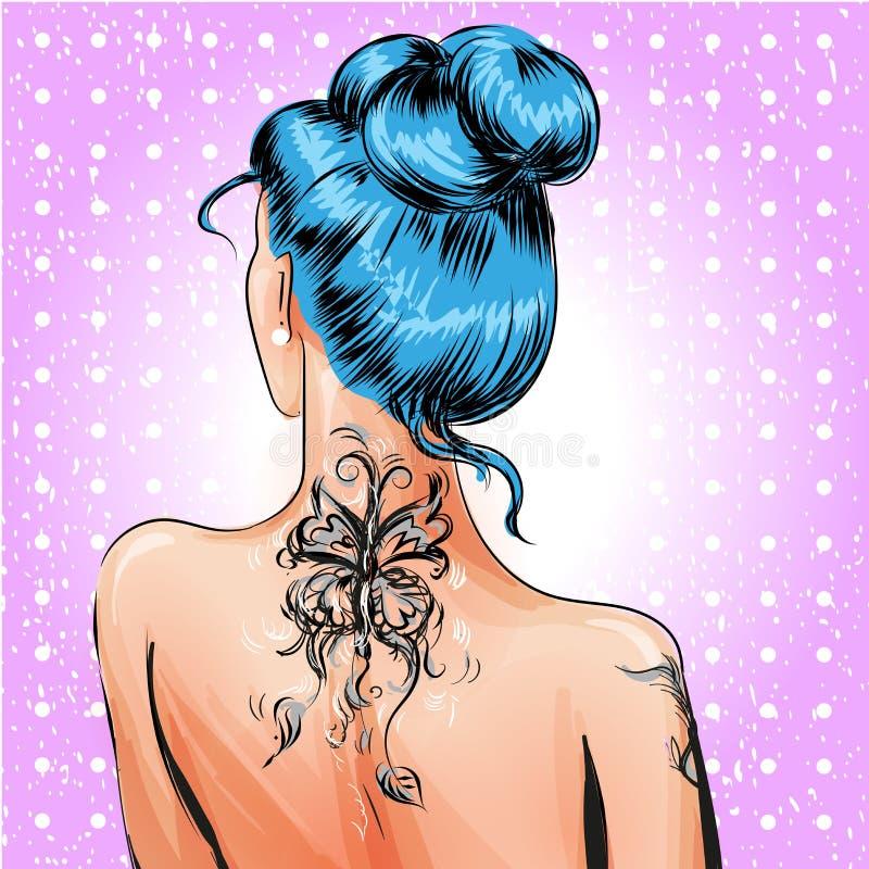 Fille de goupille- d'art de bruit de vecteur avec le tatouage illustration stock