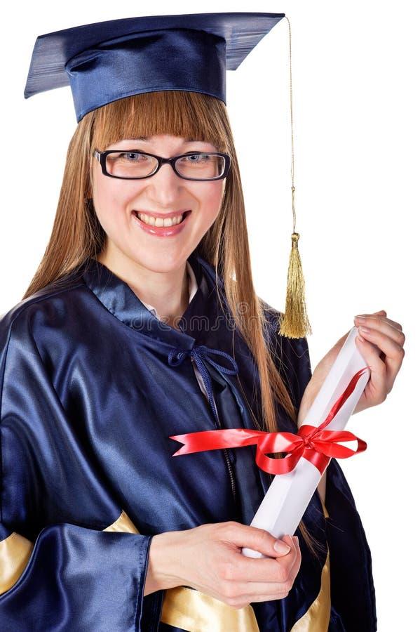 Fille de graduation heureuse images libres de droits