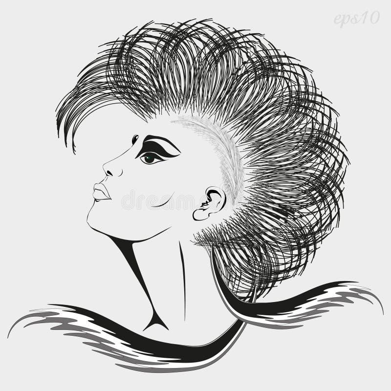 Fille de graphiques avec la coupe de cheveux iroquois illustration stock