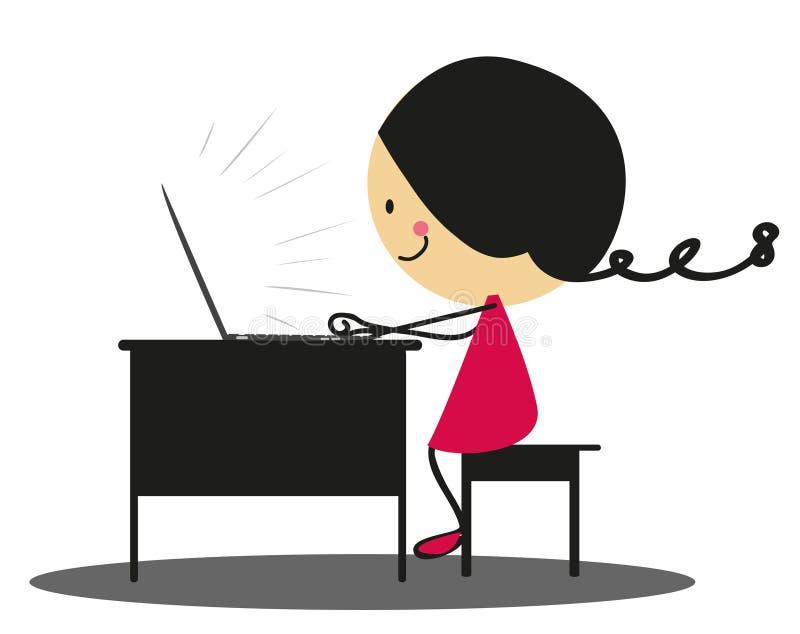 Fille de griffonnage travaillant avec l'ordinateur portable - polychrome illustration stock