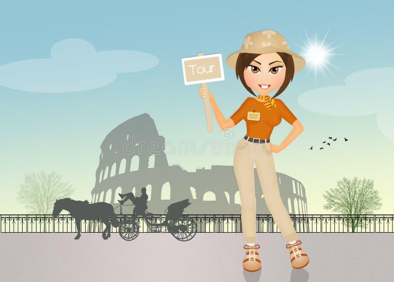 Fille de guide touristique à Rome illustration libre de droits