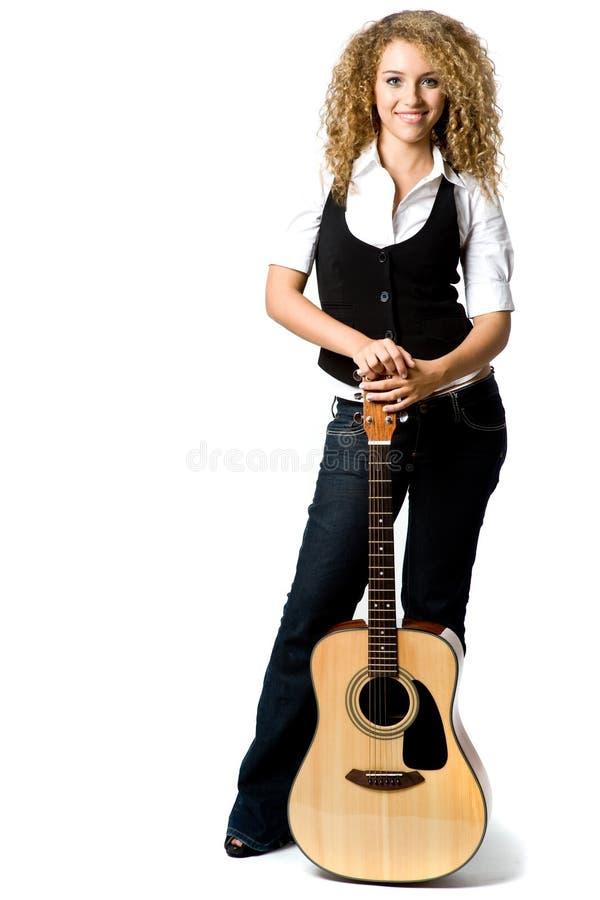 Fille de guitare photographie stock