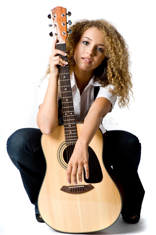 Fille de guitare photo libre de droits