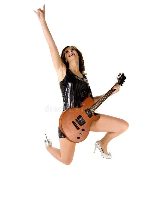 Fille de guitare de roche de Glam photo libre de droits