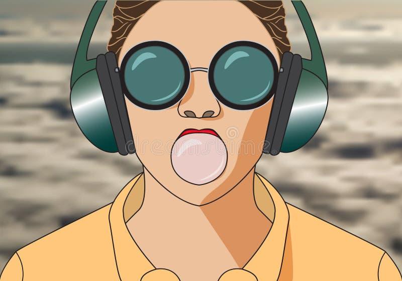 Fille de hippie écoutant la musique sur le ruminage d'écouteurs et de mastications Vec illustration de vecteur