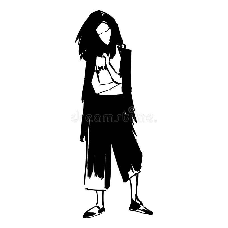 Fille de hippie dans le marqueur large de croquis d'illustration de mode de vecteur de jupe-culotte de pantalon court Silouette n illustration libre de droits