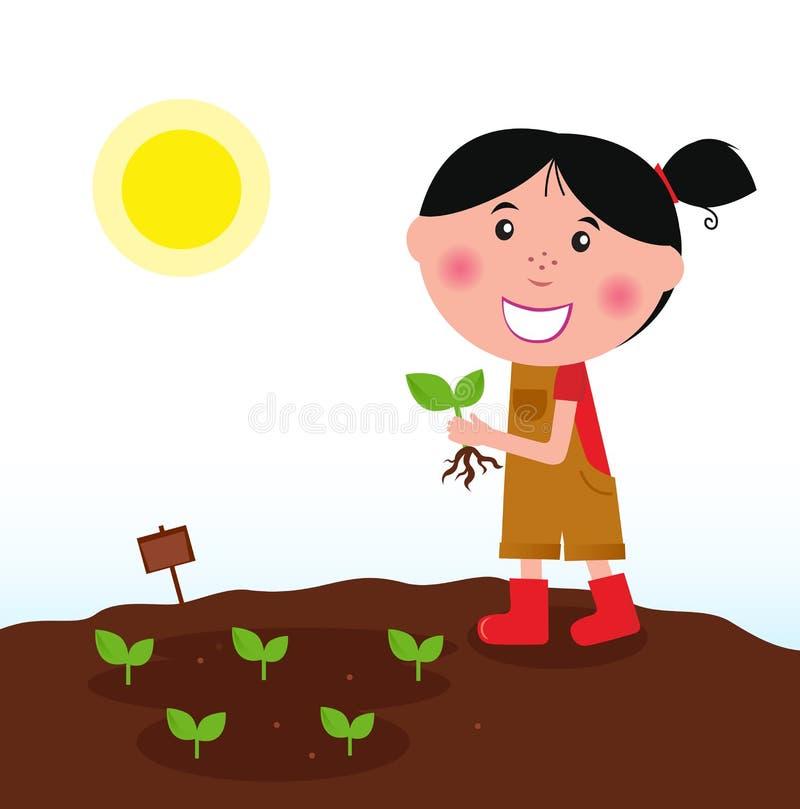 Fille de jardinage dans les gaines rouges avec la plante verte illustration de vecteur