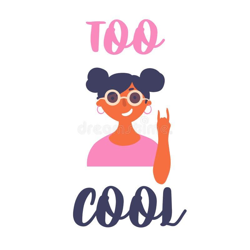 Fille de jeune adolescent dans des lunettes de soleil Lettrage trop frais illustration stock