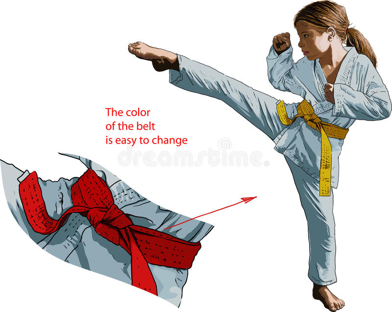 Fille de Karateka illustration de vecteur