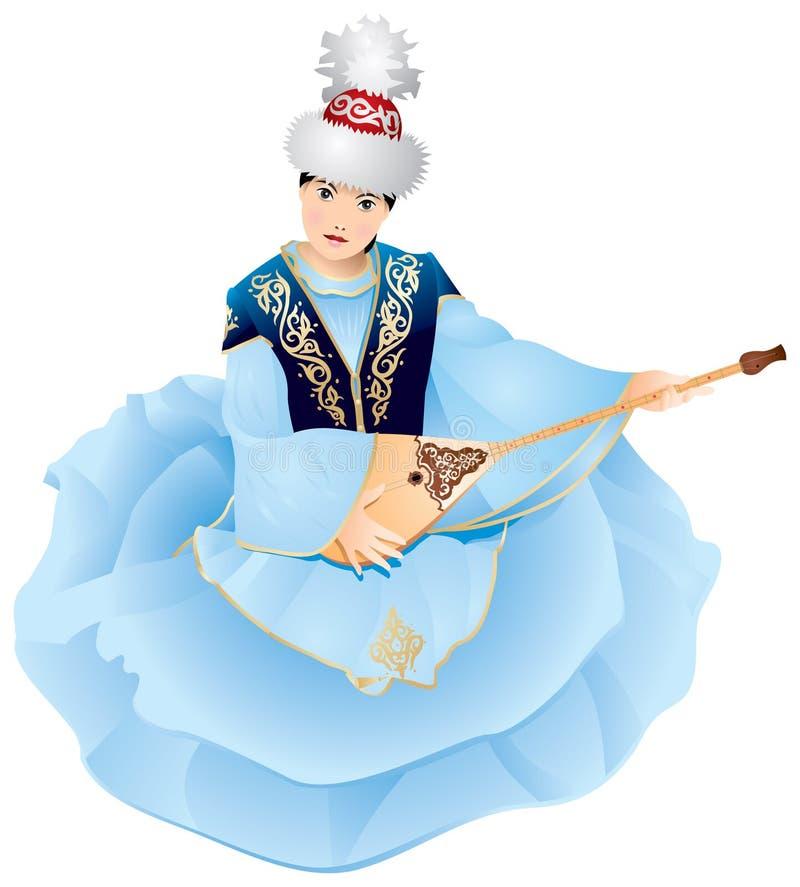 Fille de Kazakhstan avec Dombra illustration libre de droits
