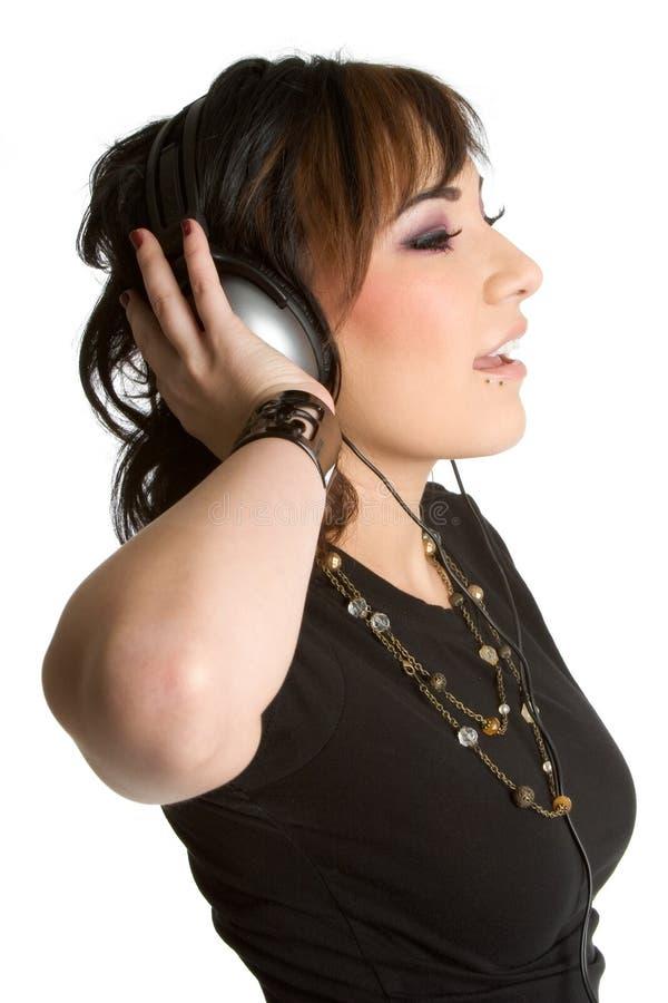 Fille de l'adolescence d'écouteurs photos libres de droits