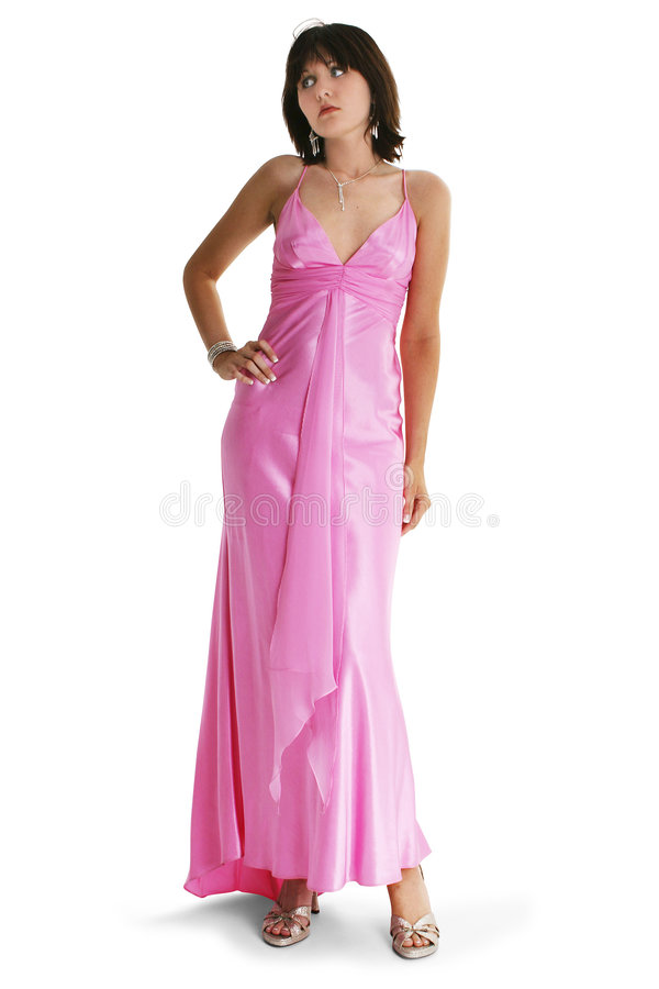 Fille de l'adolescence dans la robe formelle rose images stock