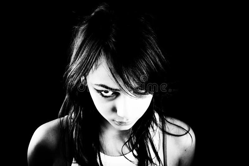 Fille de l'adolescence effrayante photo stock