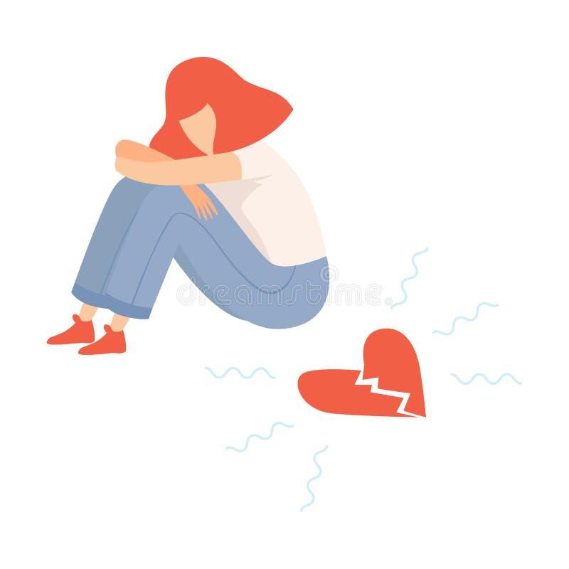 Fille de l'adolescence malheureuse avec le coeur brisé, illustration de vecteur de problème de puberté d'adolescent illustration libre de droits