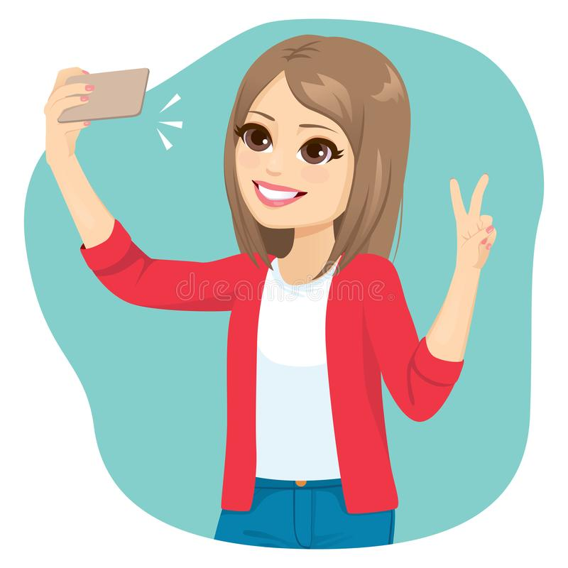 Fille de l'adolescence prenant le selfie illustration stock