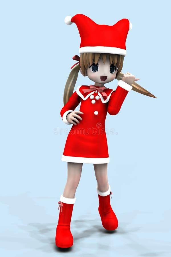 fille de l'anime 3d dans la robe de Noël illustration stock