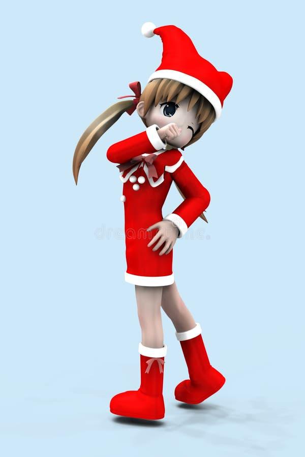 fille de l'anime 3d dans la robe de Noël illustration libre de droits