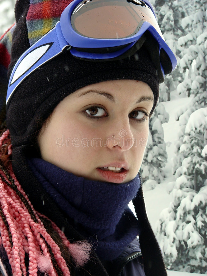 Download Fille de l'hiver photo stock. Image du verticale, snowboard - 91212