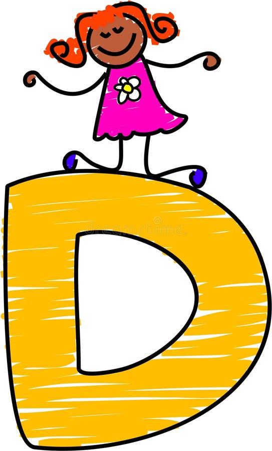 Fille de la lettre D illustration de vecteur