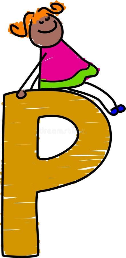 Fille de la lettre P illustration libre de droits