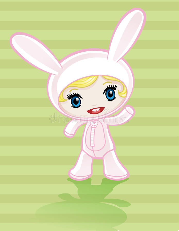 Fille de lapin d'Anime illustration de vecteur