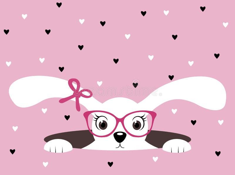 Fille de lapin mignonne avec des verres sur le fond rose de coeur illustration stock