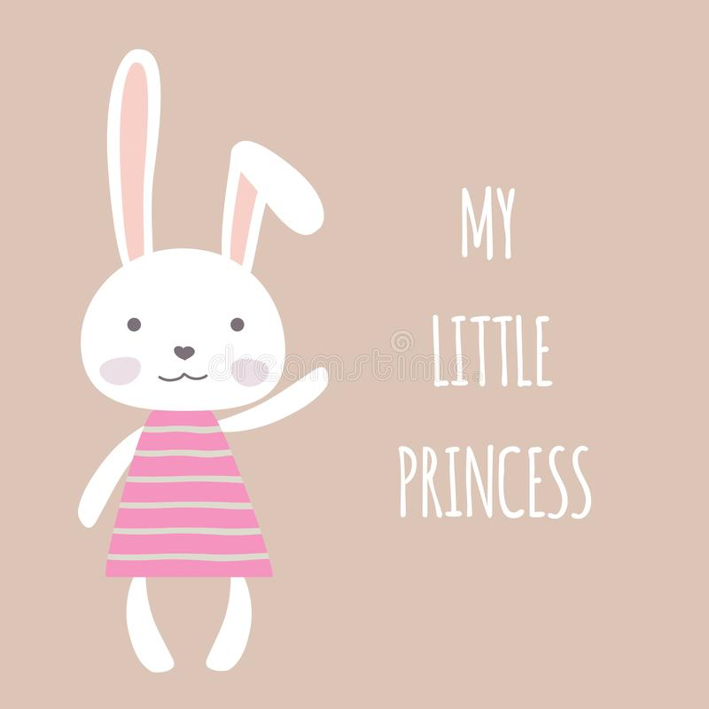 Fille de lapin mignonne de bande dessinée, ma petite carte de princesse illustration stock