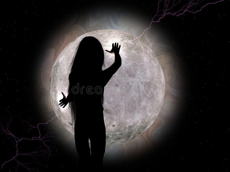 Fille de lune. illustration stock