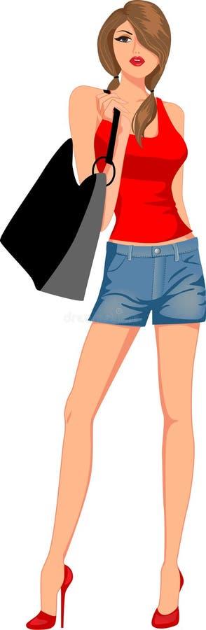 Fille de mode avec des sacs illustration libre de droits