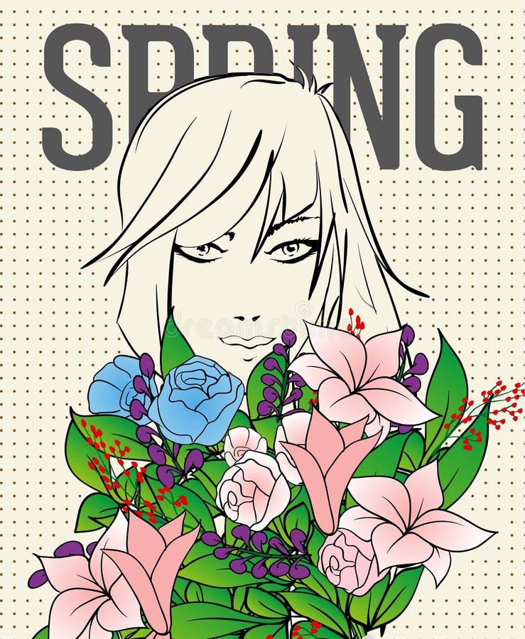 Fille de mode avec un bouquet des fleurs illustration stock