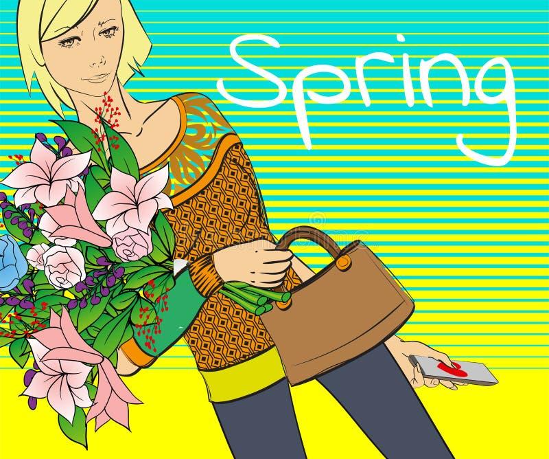 Fille de mode avec un bouquet des fleurs de ressort Femme avec des fleurs Ressort illustration stock