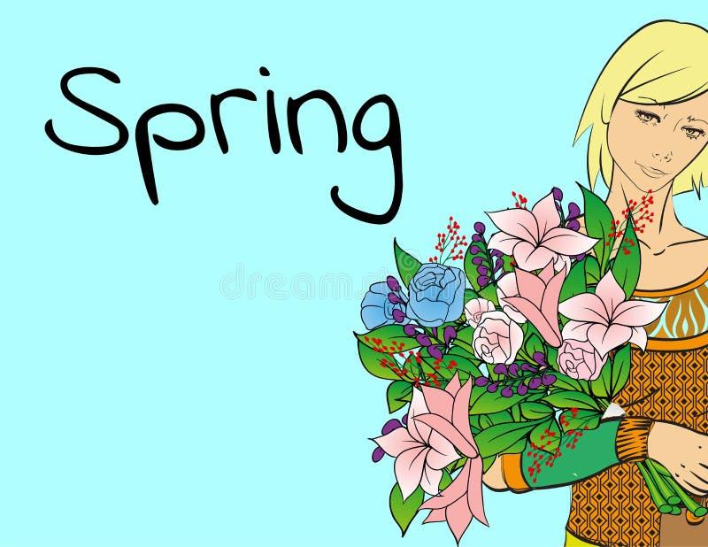 Fille de mode avec un bouquet des fleurs de ressort Femme avec des fleurs Ressort illustration libre de droits