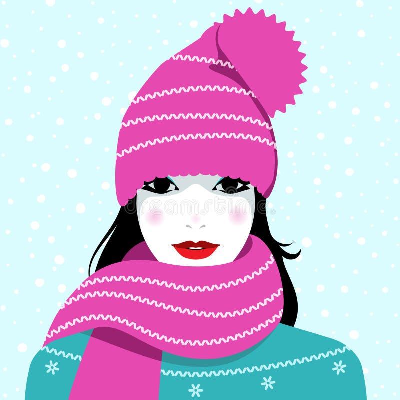 fille de mode d'isolement au-dessus de l'hiver blanc illustration libre de droits