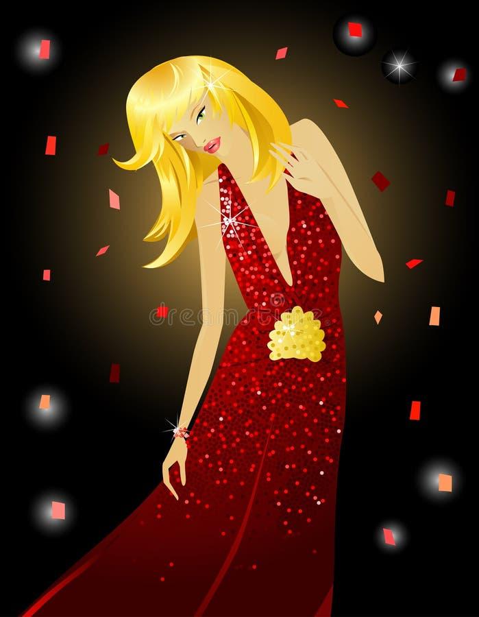 Fille de mode dans la robe rouge illustration stock