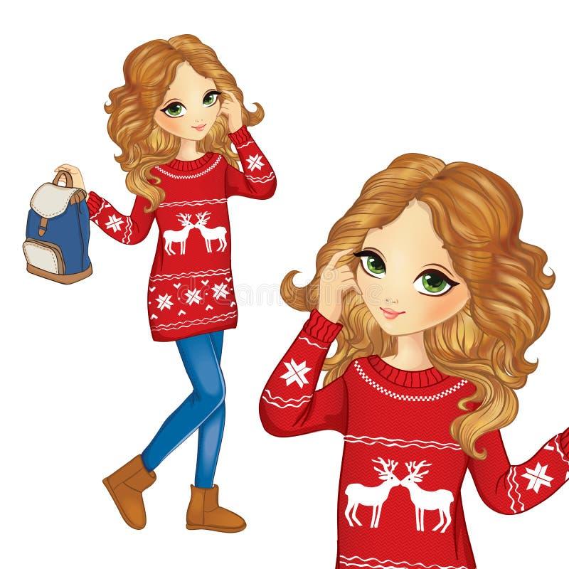 Fille de mode dans le chandail de Noël illustration de vecteur