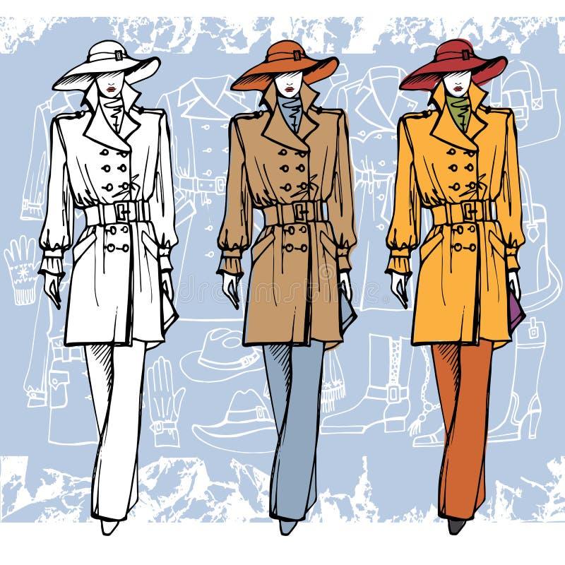 Fille de mode dans le chapeau Type de croquis grunge illustration stock