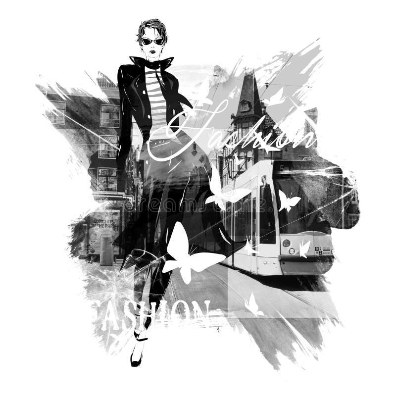 Fille de mode dans le croquis-type illustration libre de droits