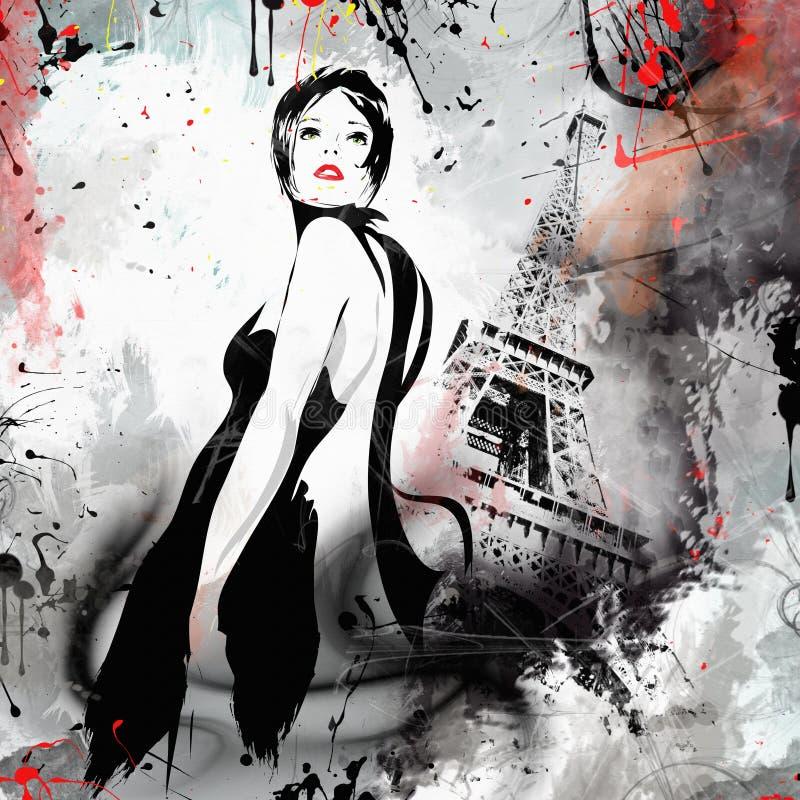 Fille de mode dans le croquis-type Paris moderne illustration stock