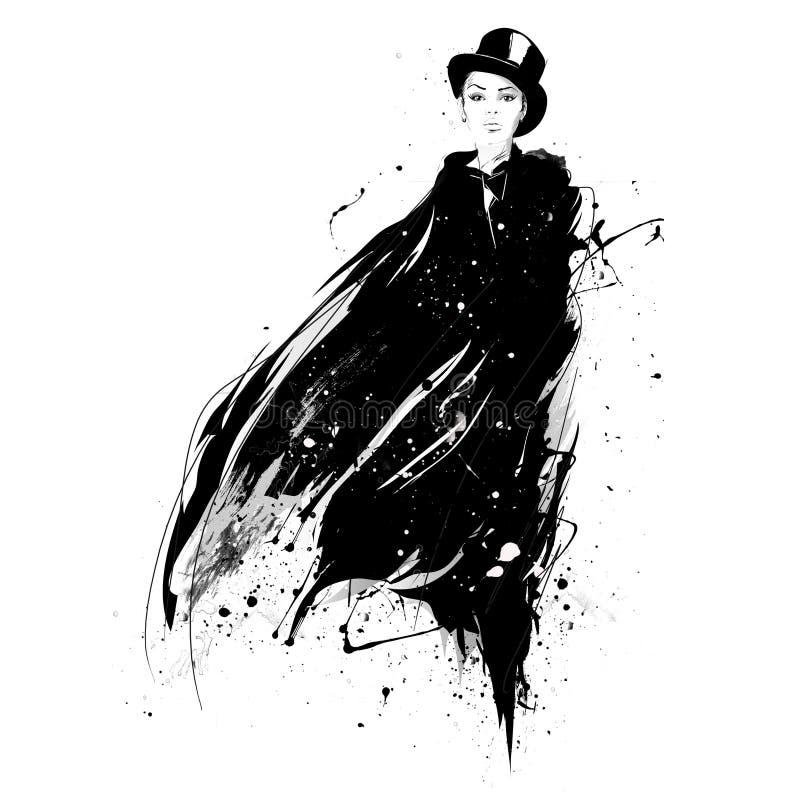 Fille de mode dans le croquis-type Rétro affiche illustration de vecteur