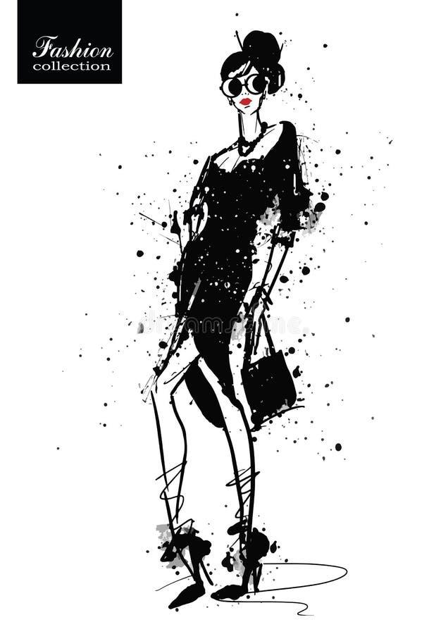 Fille de mode dans le croquis-type Rétro affiche illustration libre de droits