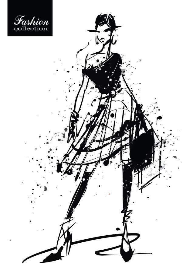 Fille de mode dans le croquis-type Rétro affiche illustration stock